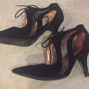 Qupid Shoes - Quipid black lace up pumps